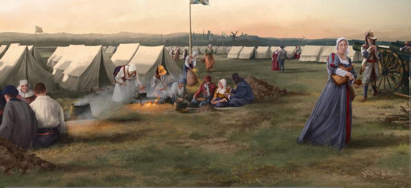 Tableau de Yannick de Smet,  exposé par le service archéologique SOLVA à l'expo Landschap.doorgrond